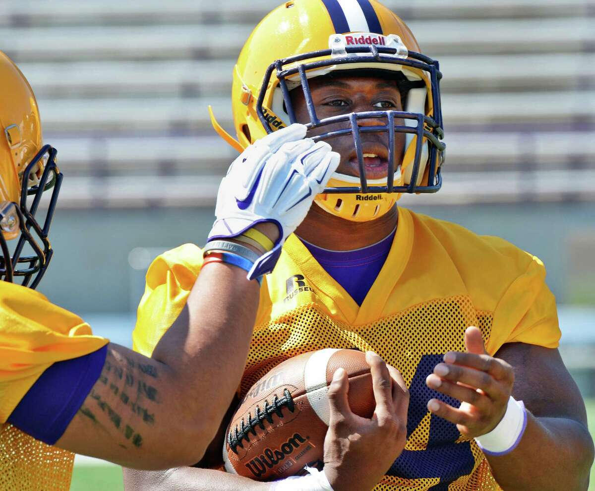Running back Elijah Ibitokun-Hanks during the University at Albany football team's first practice Saturday Aug. 6, 2016 in Albany, NY. (John Carl D'Annibale / Times Union)