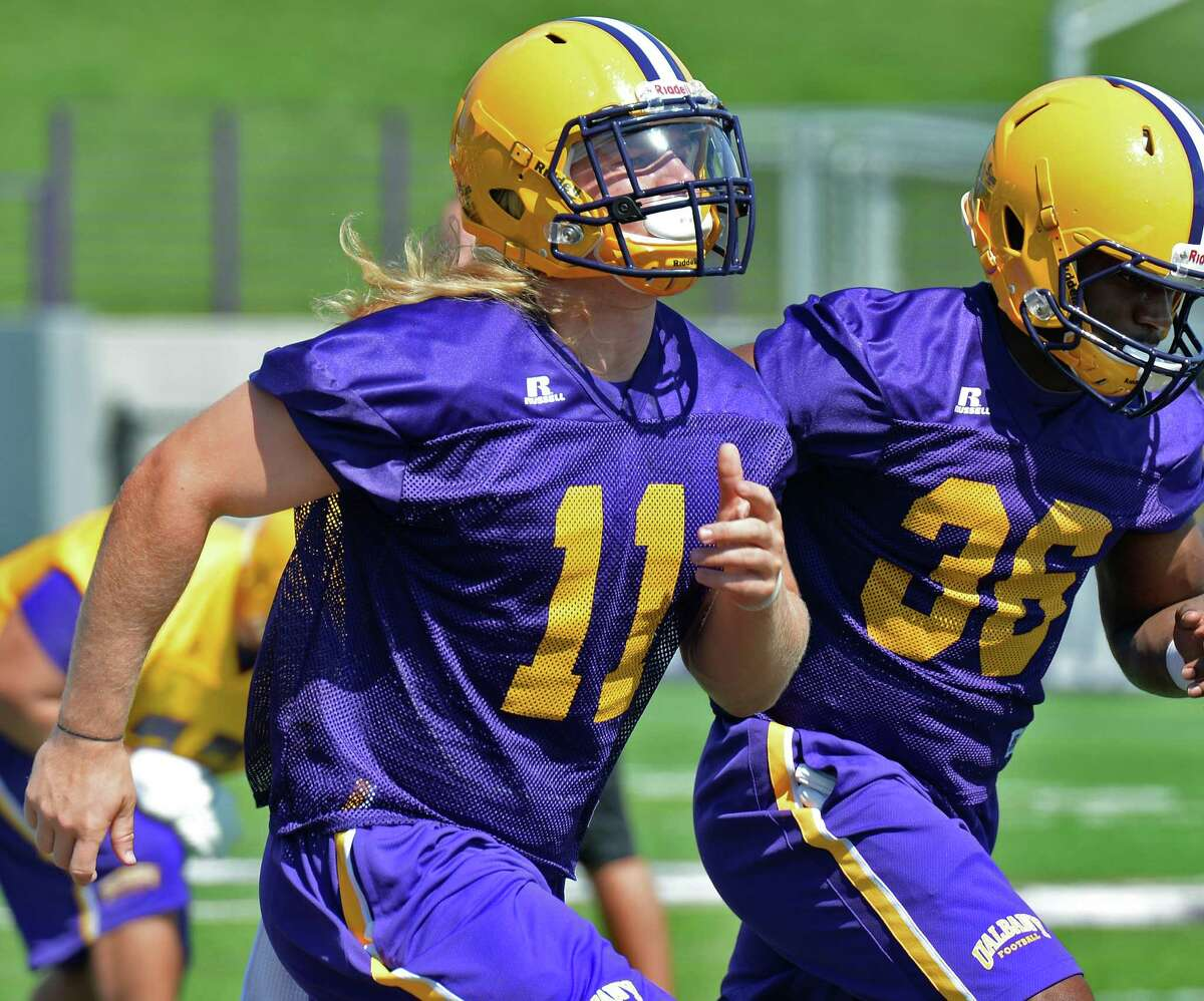 Outside linebacker #11 Michael Nicastro during the University at Albany football team's first practice Saturday Aug. 6, 2016 in Albany, NY. (John Carl D'Annibale / Times Union)