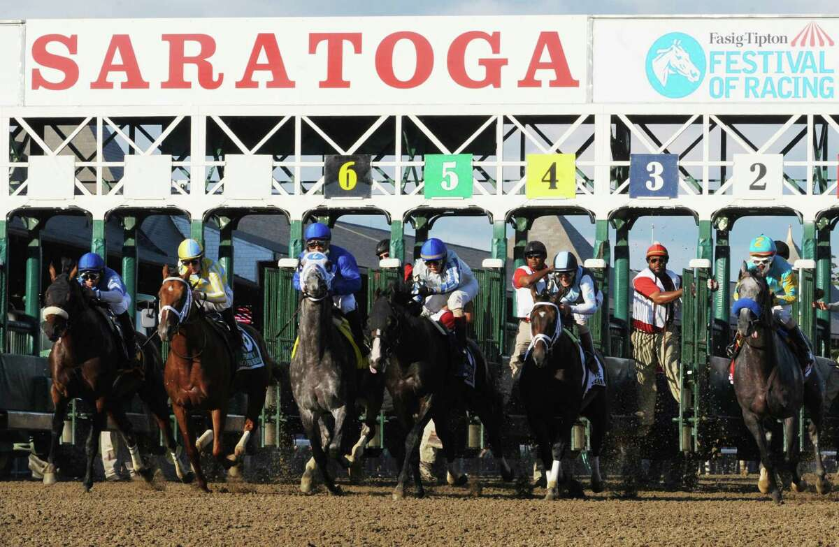 Frosted,third from left, with jockey Joel Rosario leaves the starting gate to win the 89th running of The Whitney Aug. 6, 2016 in Saratoga Springs, N.Y. T (Skip Dickstein/Times Union