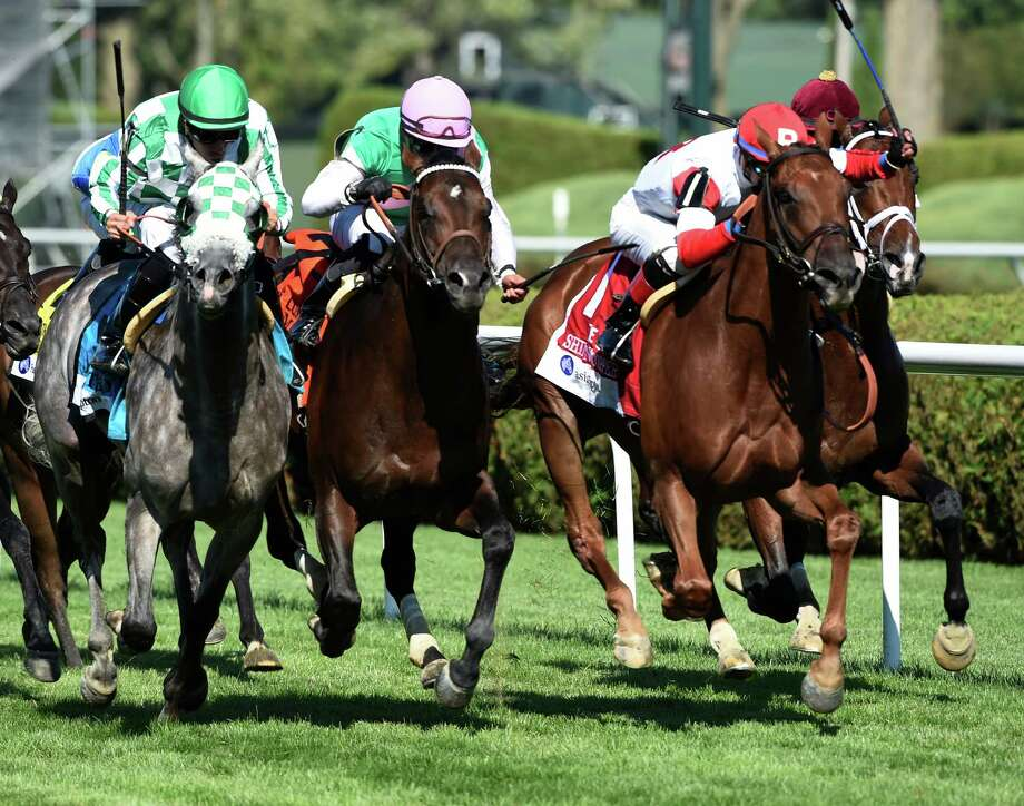 #1Shining Copper with jockey Jose Ortiz wins the 4th running of The Fasig-Tipton Lure at the Saratoga Race Course Aug. 6, 2016 in Saratoga Springs, N.Y. T (Skip Dickstein/Times Union Photo: SKIP DICKSTEIN
