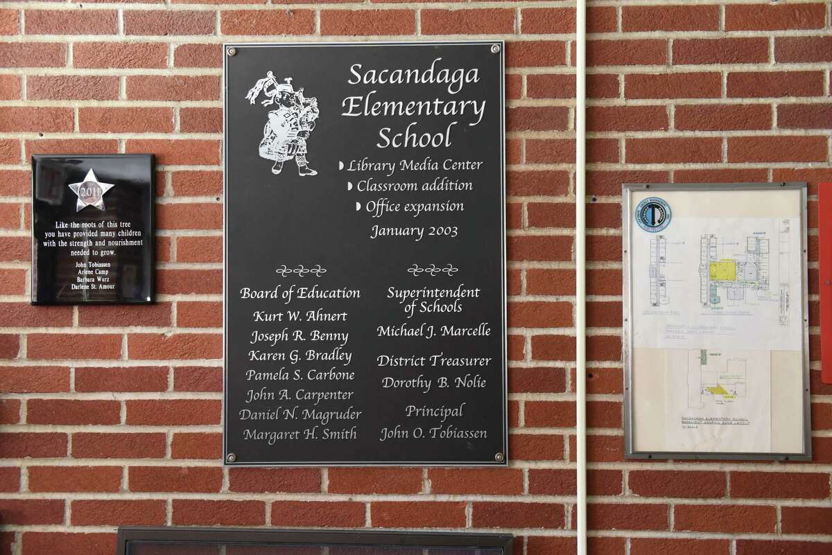 Signs in the lobby of Sacandaga Elementary School. (Lori Van Buren / Times Union)