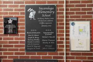 Signs in the lobby of Sacandaga Elementary School on Thursday, Aug. 4, 2016 in Scotia, N.Y. Scotia-Glenville had the most-improved scores in both ELA and math since kids were first tested on Common Core in 2013. (Lori Van Buren / Times Union)