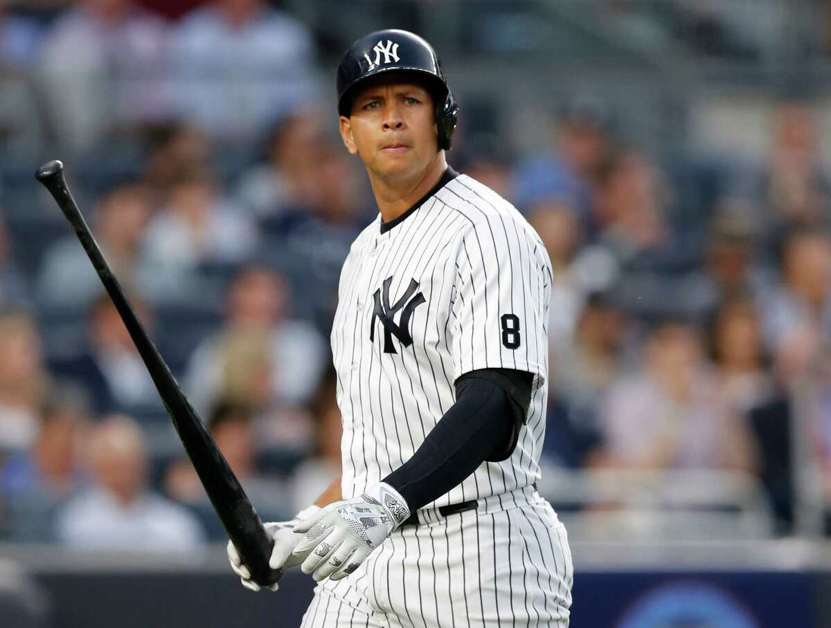 FILE - In this Monday, June 6, 2016 photo New York Yankees designated hitter Alex Rodriguez (13) reacts after striking out swinging in the fourth inning of a baseball game against the Los Angeles Angels at Yankee Stadium in New York. The New York Yankees have announced they will hold a news conference with Alex Rodriguez before the game against Cleveland on Sunday, Aug. 7, 2016. (AP Photo/Kathy Willens, File) ORG XMIT: NY159