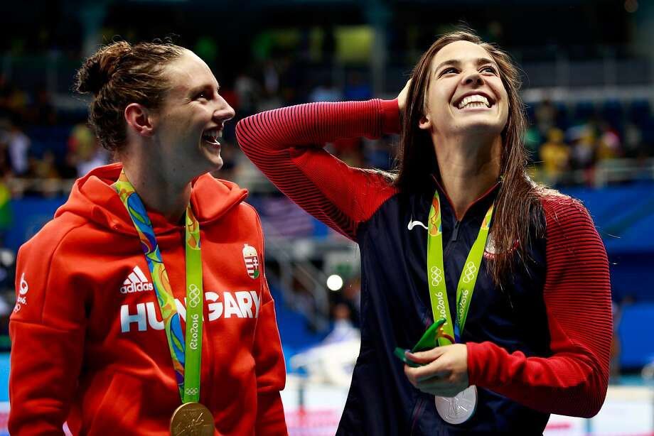 RIO DE JANEIRO, BRAZIL - AUGUST 06:  (L-R) Gold medal medalist Katinka Hosszu and silver medalist Maya Dirado of the United States pose during the medal ceremony for the Final of the Women's 400m Individual Medley on Day 1 of the Rio 2016 Olympic Games at the Olympic Aquatics Stadium on August 6, 2016 in Rio de Janeiro, Brazil.  (Photo by Adam Pretty/Getty Images) Photo: Adam Pretty, Getty Images