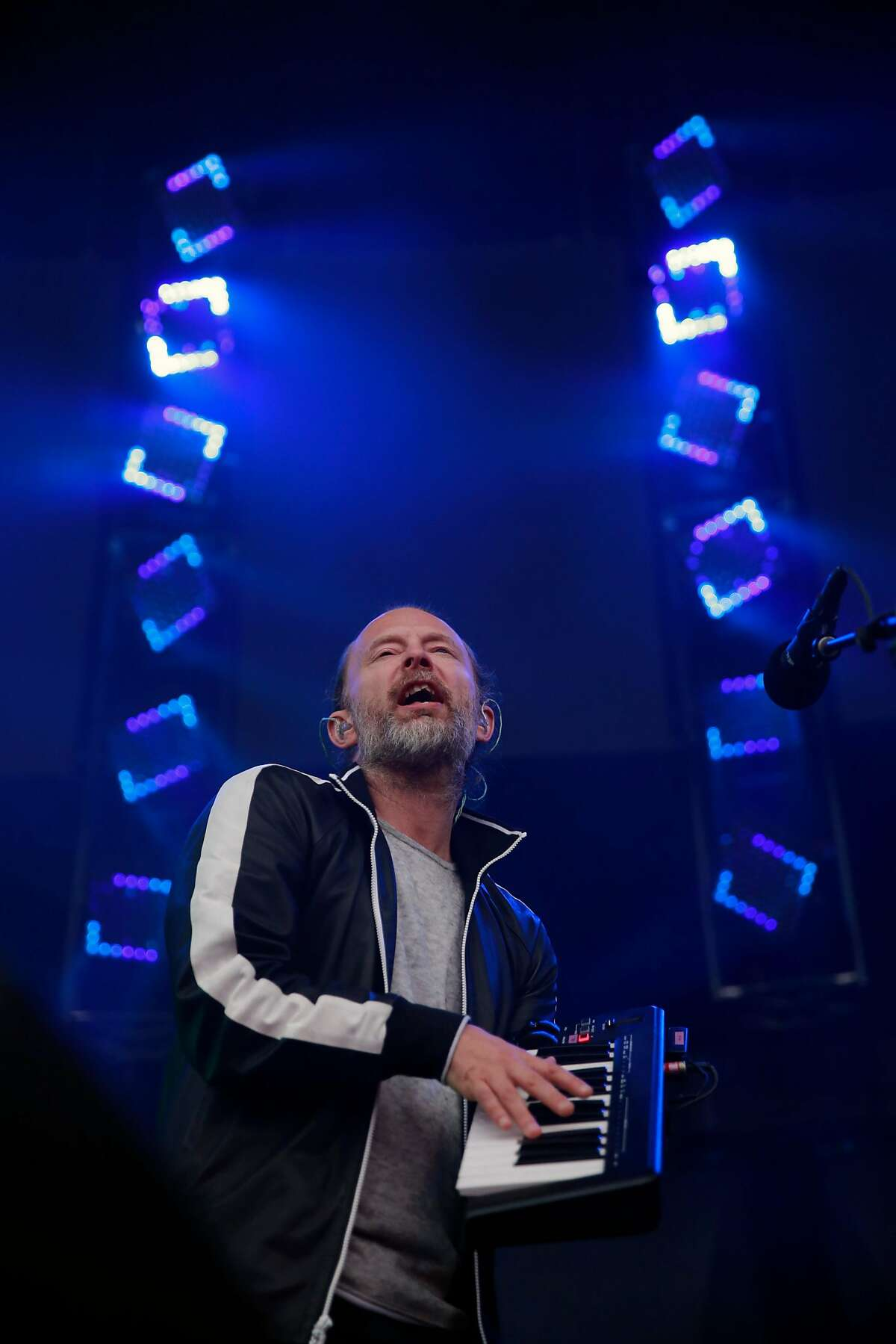 Thom Yorke of Radiohead as they play the Lands End stage during day two of the Outside Lands Music Festival in Golden Gate Park in San Francisco, California, on Sat. Aug. 6, 2016.