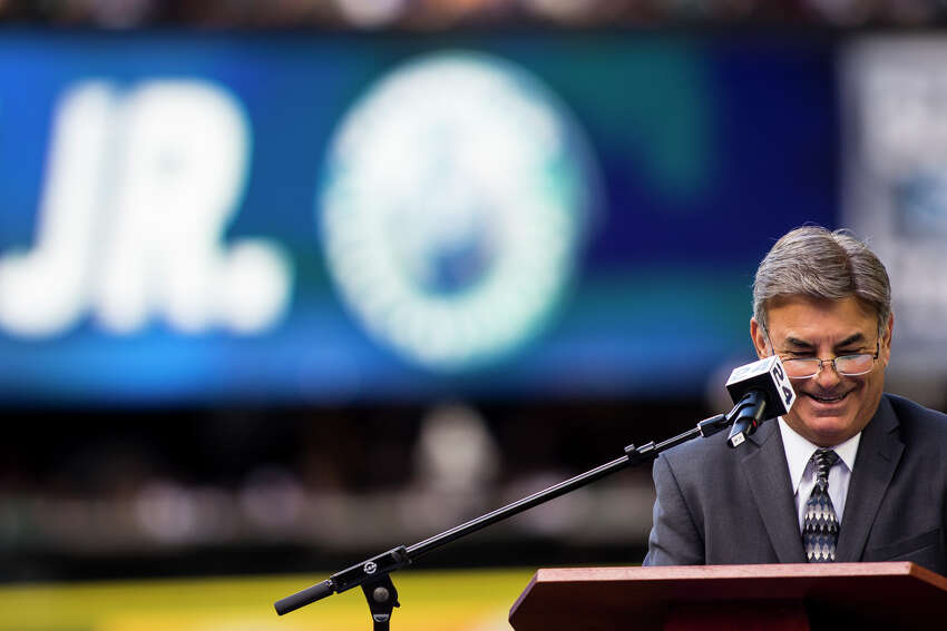 Mariners announcer Rick Rizzs smiles as the crowd cheers during Ken Griffey Jr.'s number retirement ceremony at Safeco Field on Saturday, Aug. 6, 2016.(Lacey Young, seattlepi.com)