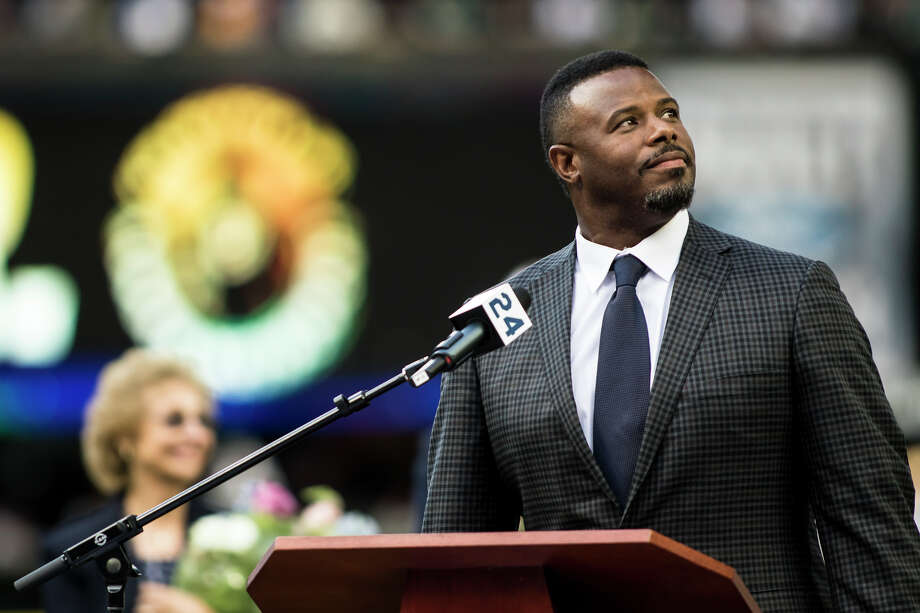 Ken Griffey Jr. looks to the crowd as they welcome him to the podium at Safeco Field during his number retirement ceremony on Saturday, Aug. 6, 2016. (Lacey Young, seattlepi.com) Photo: LACEY YOUNG/SEATTLEPI.COM