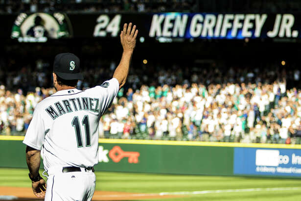 Edgar Martinez enters the number retirement ceremony from the Mariner's dugout in Safeco Field on Saturday, August 6, 2016. (Lacey Young, seattlepi.com)