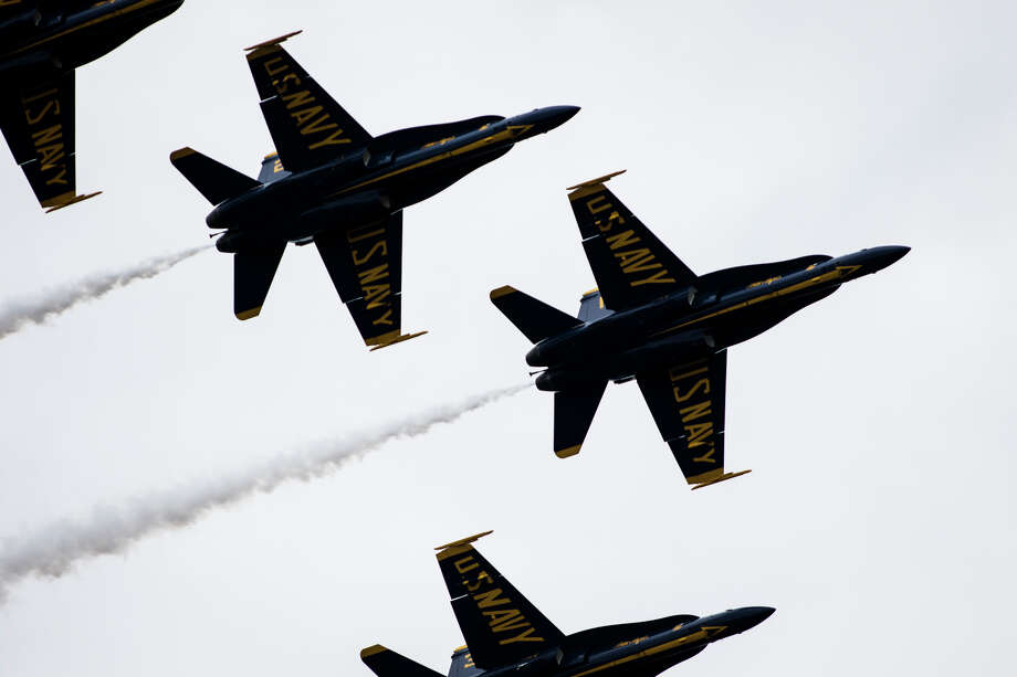 The U.S. Navy Blue Angels fly in formation over Lake Washington for Seafair on Saturday, Aug. 6, 2016. (Lacey Young, seattlepi.com) Photo: LACEY YOUNG/SEATTLEPI.COM