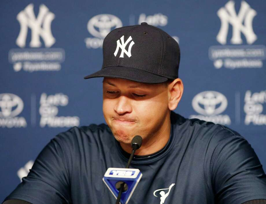 New York Yankees' Alex Rodriguez pauses as he announces that Friday, Aug. 12, 2016, will be his last game as a player during a news conference at Yankee Stadium in New York, Sunday, Aug. 7, 2016. He will continue on in a role as a special advisor and instructor to the team through Dec. 31, 2017. (AP Photo/Kathy Willens) Photo: Kathy Willens, Associated Press / Copyright 2016 The Associated Press. All rights reserved. This material may not be published, broadcast, rewritten or redistribu
