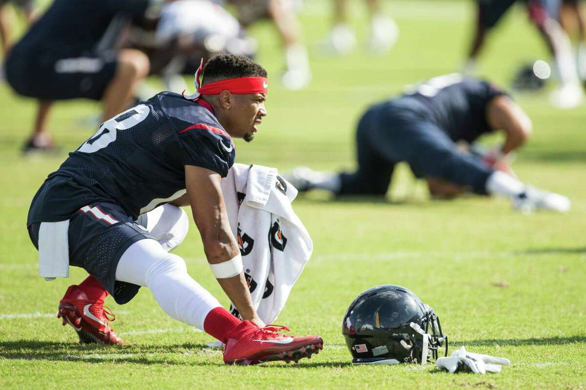 Houston Texans wide receiver Cecil Shorts (18) stretches during Texans training camp at Houston Methodist Training Center on Sunday, Aug. 7, 2016, in Houston.
