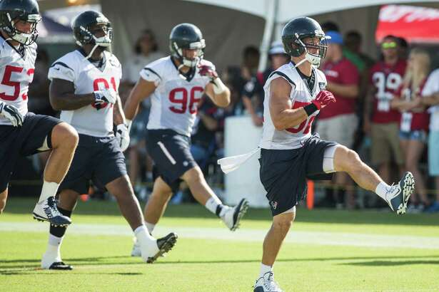 Houston Texans linebacker Brian Peters (52) runs during warm ups during Texans training camp at Houston Methodist Training Center on Sunday, Aug. 7, 2016, in Houston.