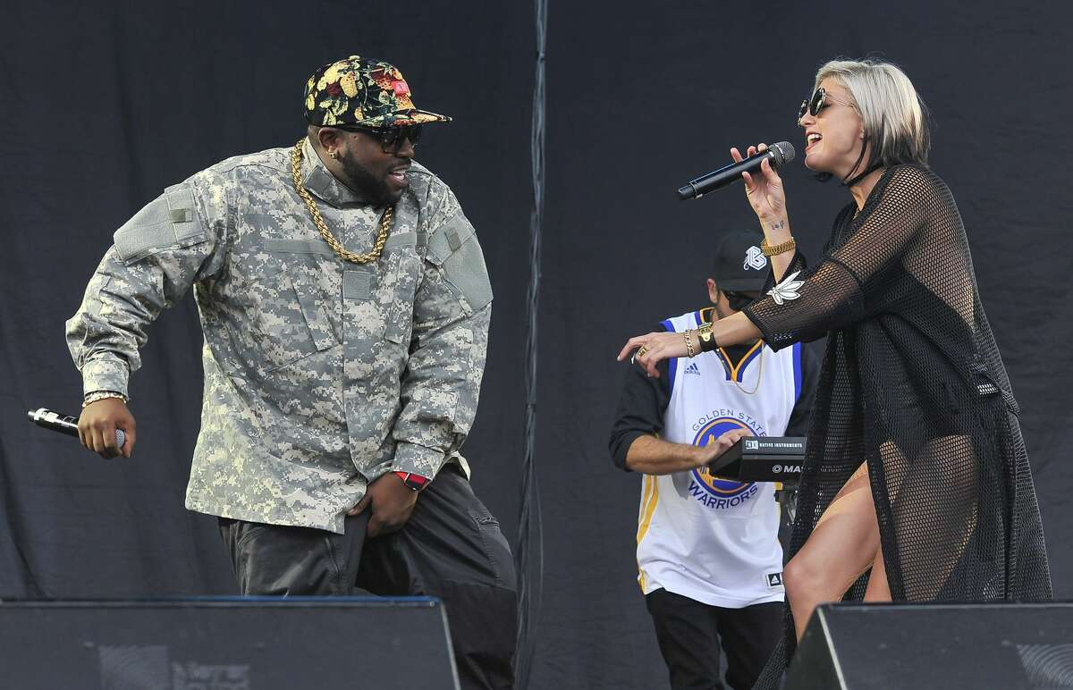(L-R) Big Boi and Sarah Barthel of Big Grams perform on Day 2 of Outside Lands Music and Arts Festival at Golden Gate Park on August 6, 2016 in San Francisco.