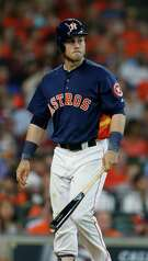 Houston Astros left fielder Preston Tucker (20) walks back to the dugout after his third strikeout of the day during the seventh inning of an MLB game at Minute Maid Park, Sunday, Aug. 7, 2016, in Houston.