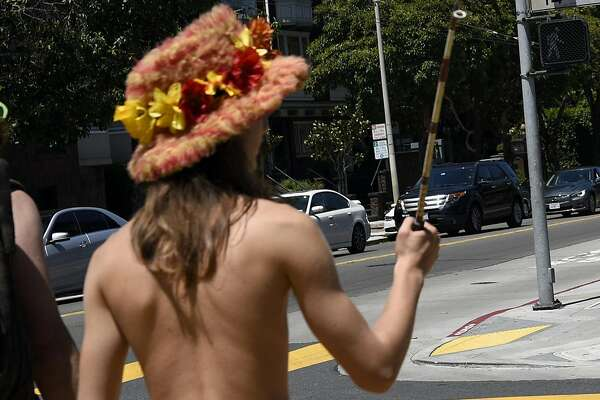 "The ""Naked Parade"" makes it's way up Castro St. towards  Haight and Ashbury, in San Francisco, CA Sunday, August 7th, 2016."