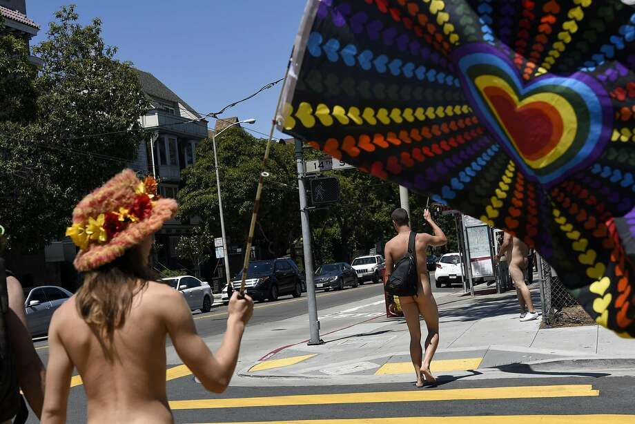 "The ""Naked Parade"" makes it's way up Castro St. towards  Haight and Ashbury, in San Francisco, CA Sunday, August 7th, 2016. Photo: Michael Short, Special To The Chronicle"