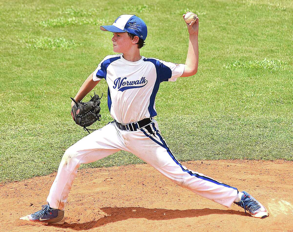 Norwalk pitcher Kyle Close fires to the plate during Sunday's Cal Ripken 10-year-old All-Star World Series game against the Mineral Area, Mo., Falcons .