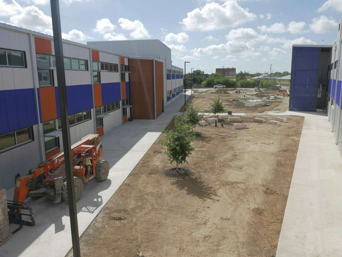 Grass will soon be put into a courtyard at KIPP Cevallos, a charter school shown under construction in this 2016 file photo.