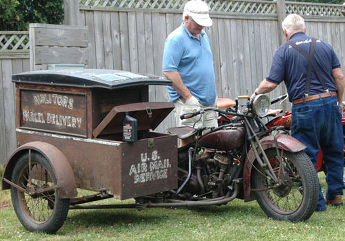 Classic motorcycle is seen at Rhinebeck swap meet of the antique motorcycle clubs