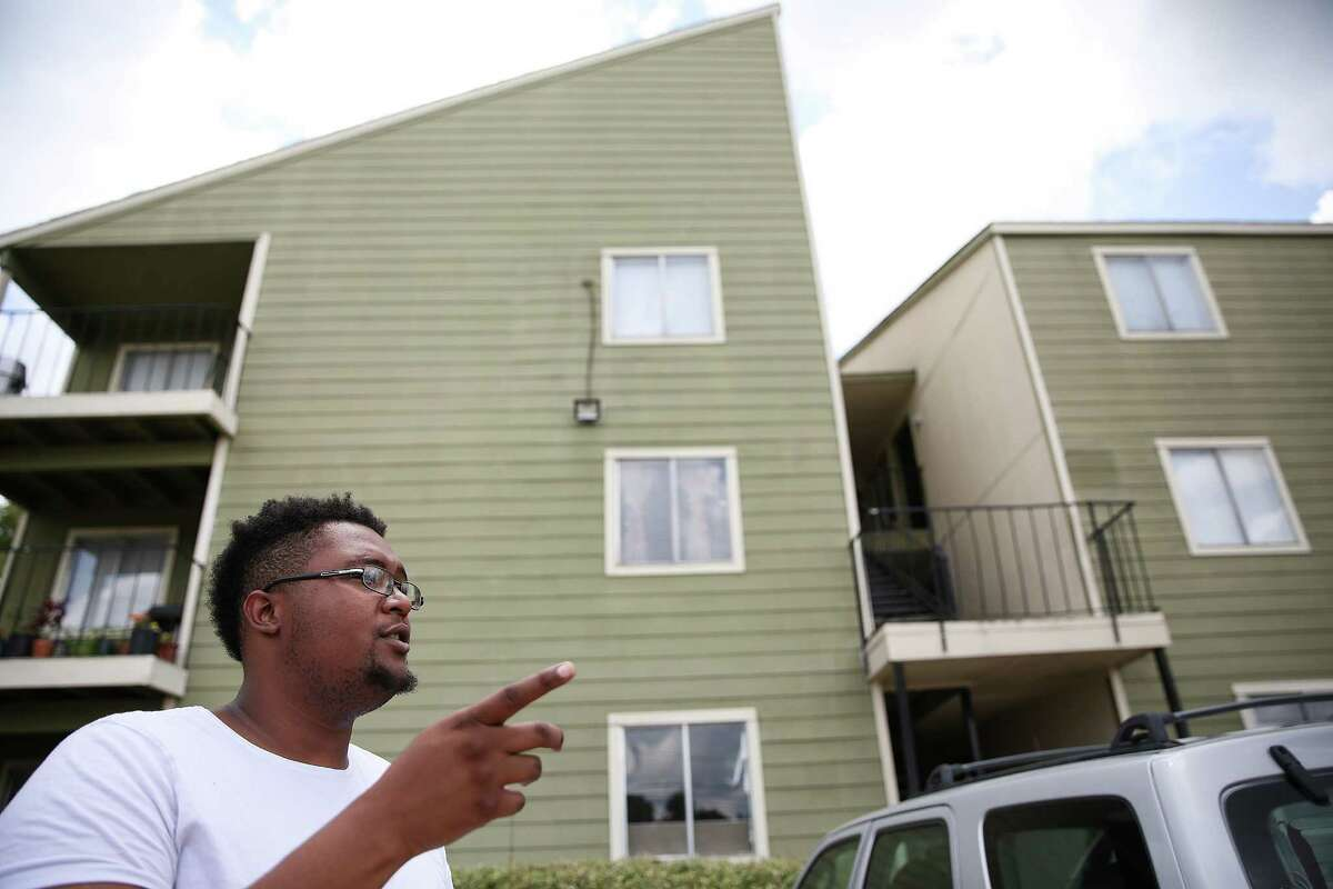 Joshua Robinson talks about how life has been since the April floods that displaced many Greenspoint residents on Monday, July 25, 2016, in Houston.