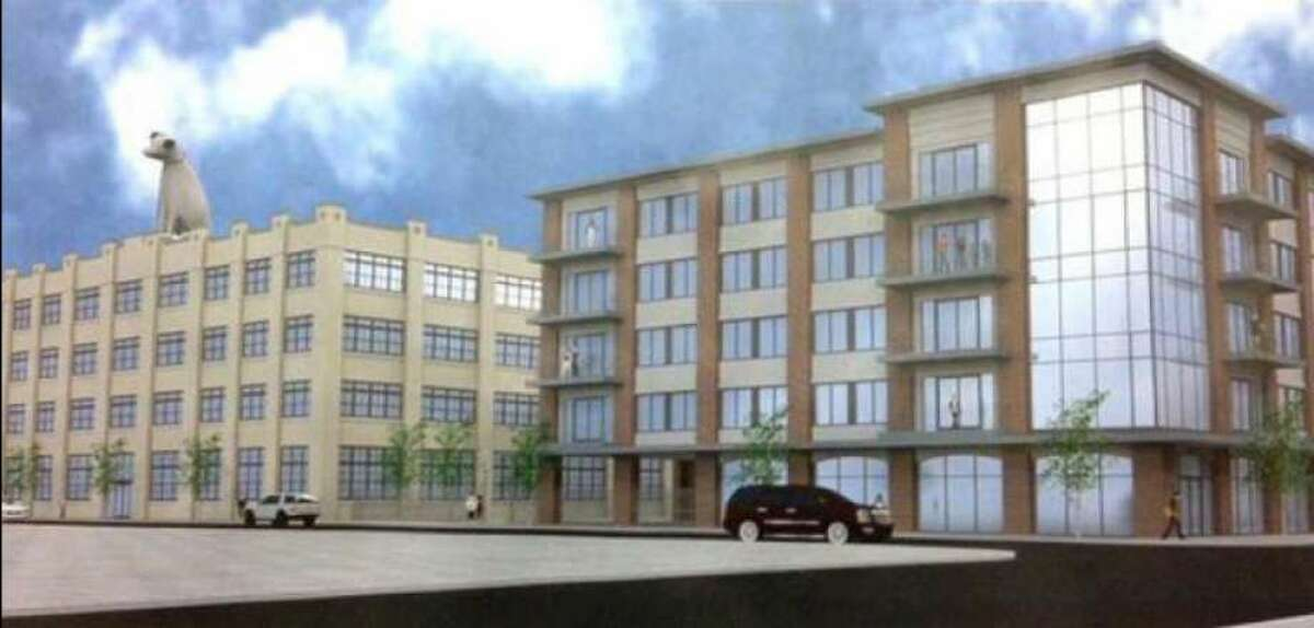 A rendering of the converted Nipper building, left, where Good Market will be on the ground floor, and a new building.