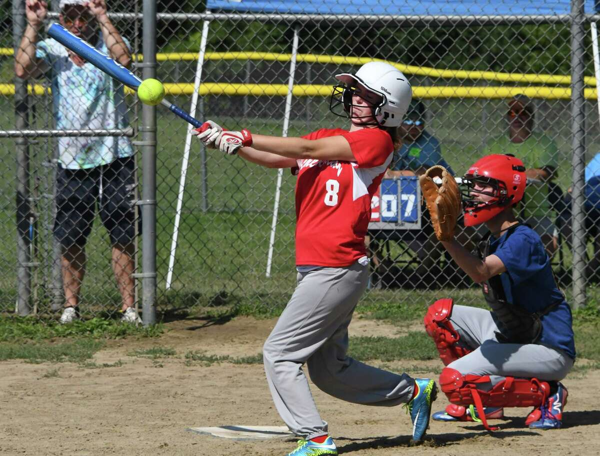 Elizabeth Sereikis of the Schenectady South Paws hits the ball during a game against the Thunderbolts in the Special Olympics New York's 2016 Capital District Local Softball Tournament held at Veterans Memorial Park at Elks Trail on Sunday, Aug. 7, 2016 in Clifton Park, N.Y. (Lori Van Buren / Times Union)