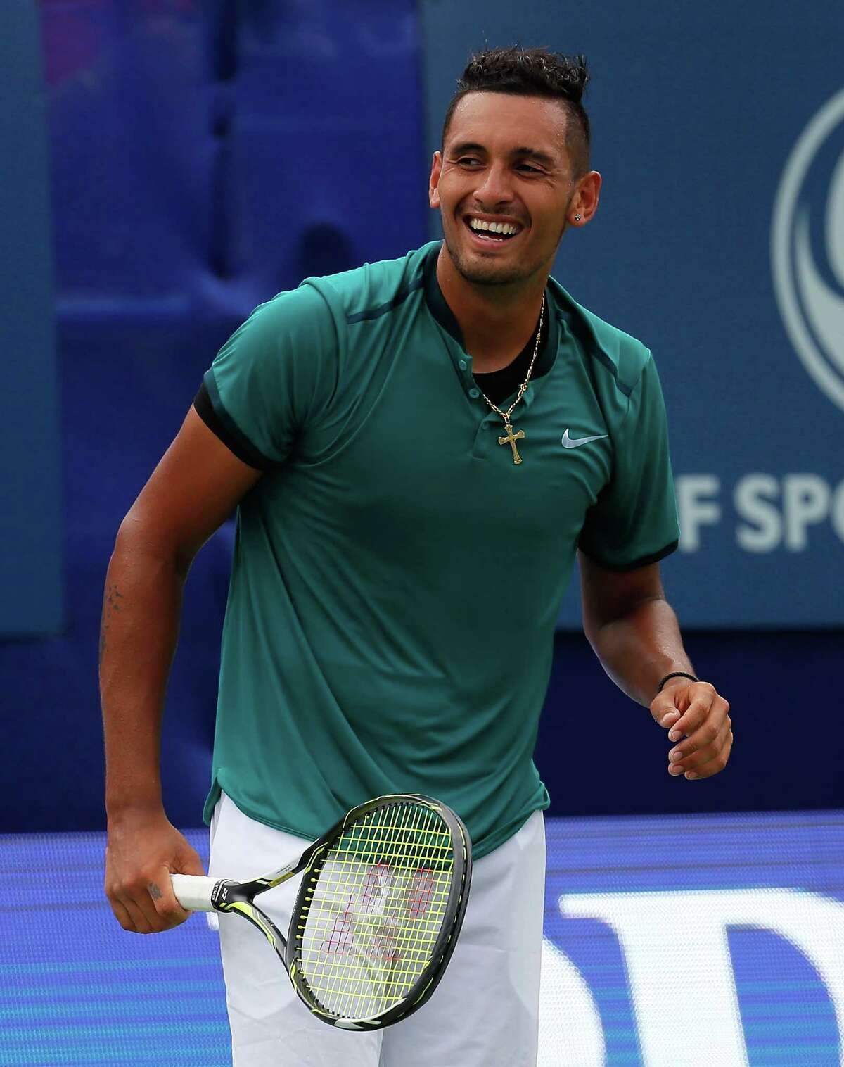 ATLANTA, GA - AUGUST 07: Nick Kyrgios of Australia reacts in the match against John Isner during the finals of the BB&T Atlanta Open at Atlantic Station on August 7, 2016 in Atlanta, Georgia. (Photo by Kevin C. Cox/Getty Images) ORG XMIT: 634833591