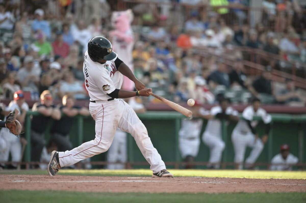 Valley Cat Chuckie Robinson bats during their game against the Brooklyn Cyclones at Bruno Stadium in Troy, NY Sunday, August 7th, 2016. Photo Eric Jenks, for the Times Union