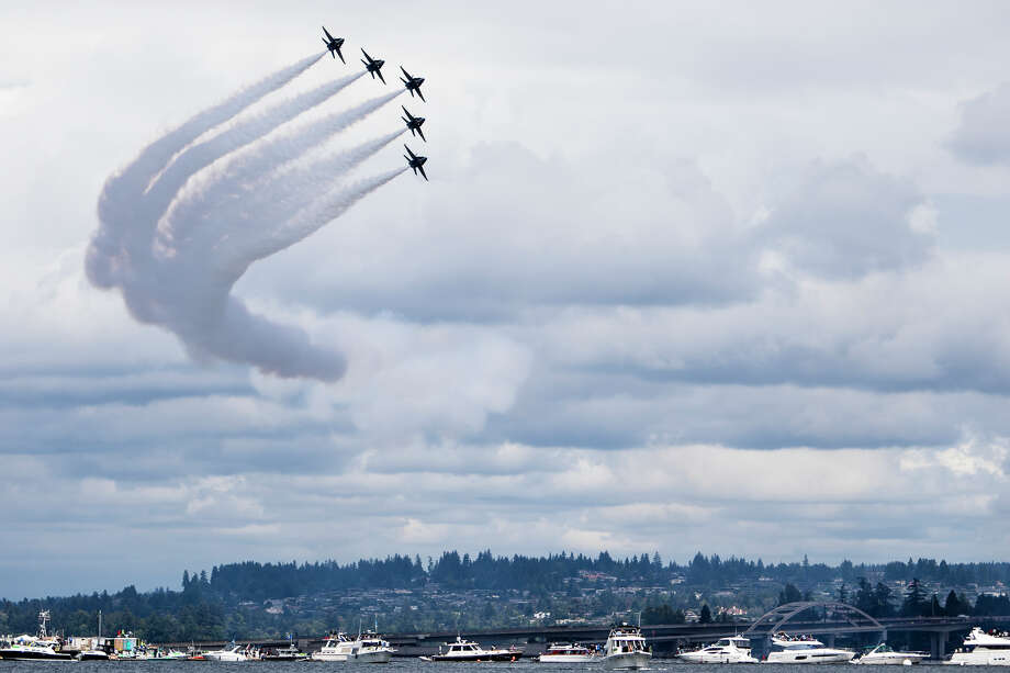 The U.S. Navy Blue Angels pass over Lake Washington during their final performance of Seafair weekend on Sunday, Aug. 7, 2016. (Lacey Young, seattlepi.com) Photo: LACEY YOUNG/SEATTLEPI.COM