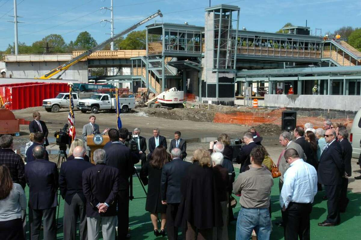 First Selectman Ken Flatto speaks Thursday April 29th, 2010 at the site of Fairfield's new train station and The Metro Center.