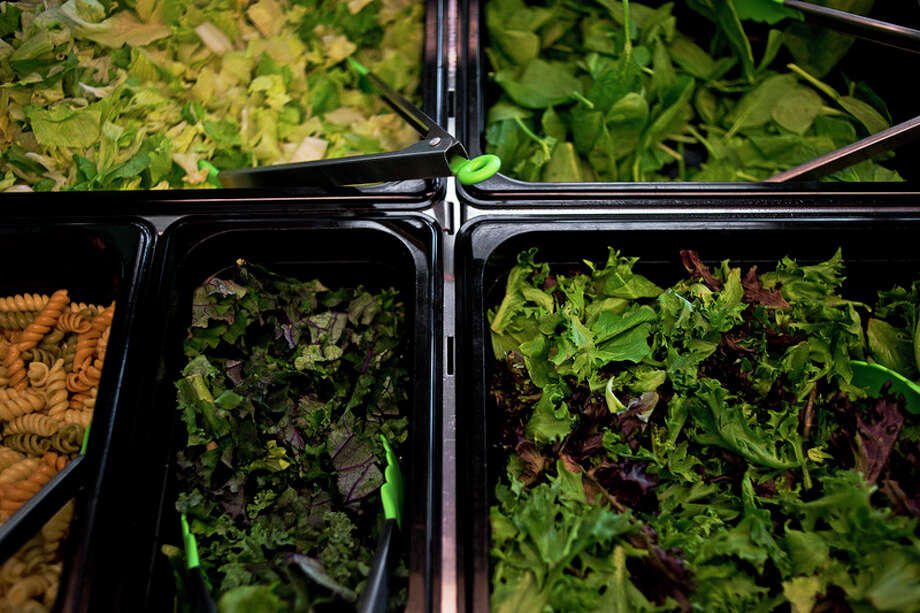 ERIN KIRKLAND | ekirkland@mdn.net Lettuce options sit out on Friday at GO! Salads. The store moved from the Midland Mall to downtown. / Midland Daily News