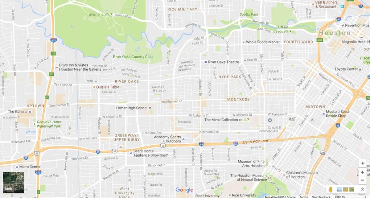 "Google Maps' orange blobs indicate ""areas of interest."""