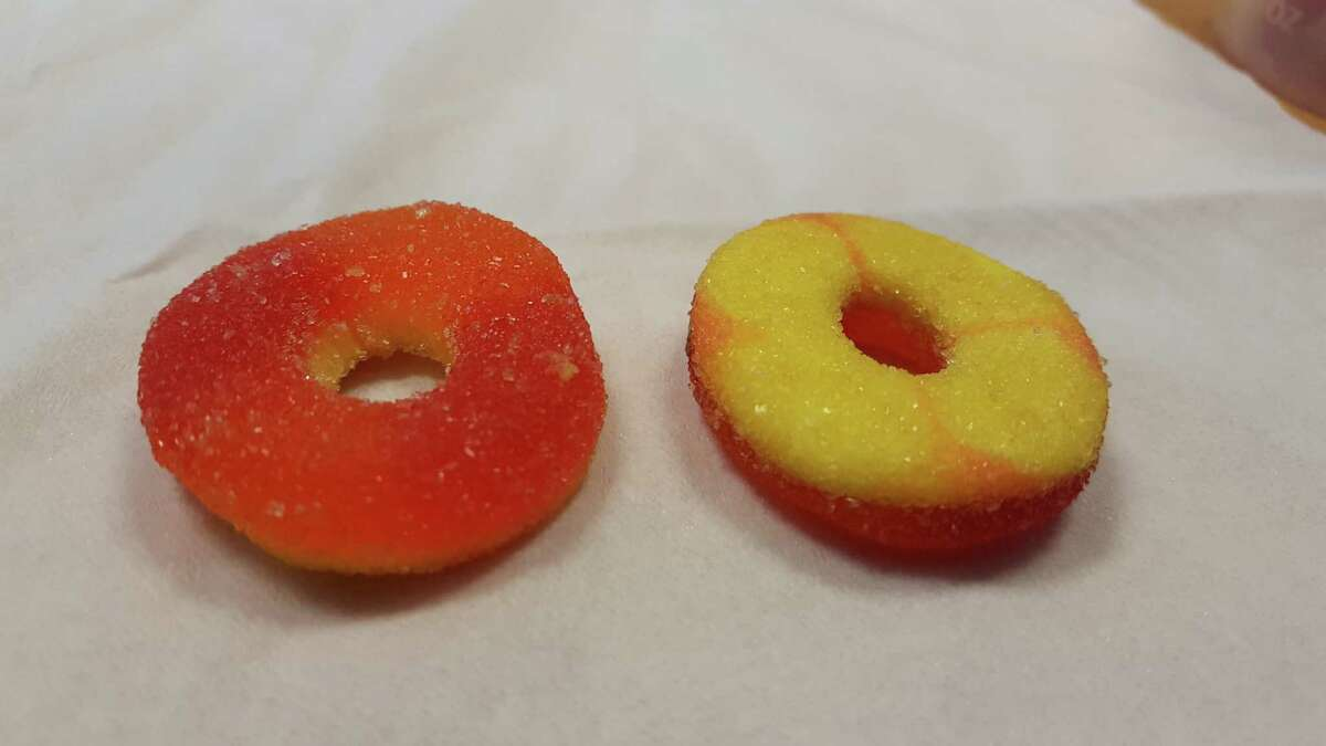The candies pictured tested positive for THC, a chemical found in marijuana. Nineteen people fell ill after ingesting the gummy rings at a party Saturday night in the Mission District.