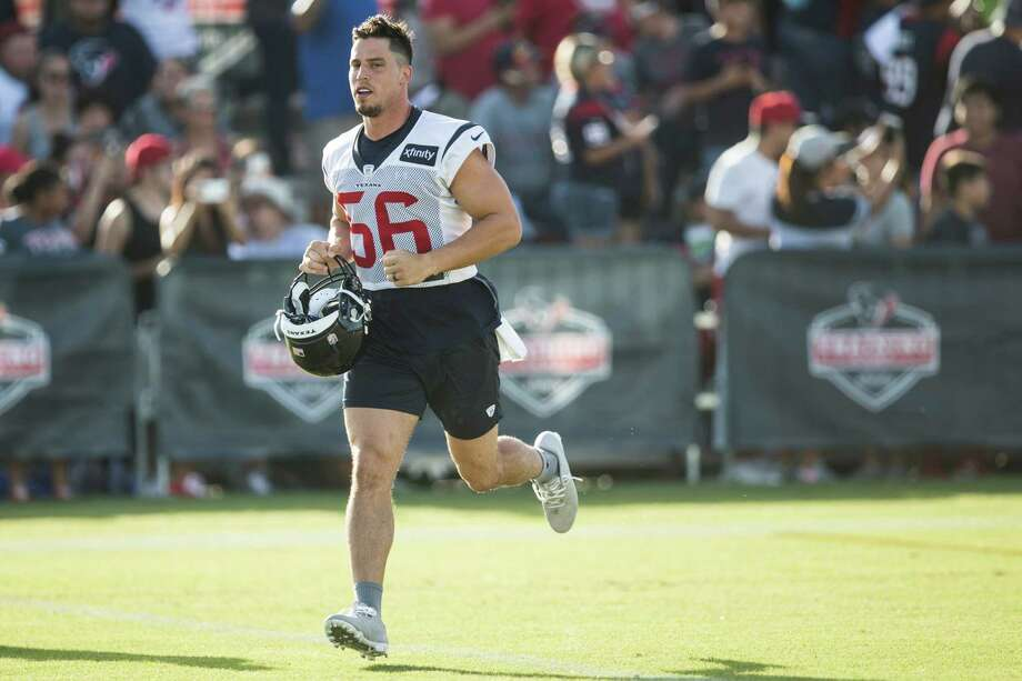 Houston Texans inside linebacker Brian Cushing (56) jogs onto the practice field during Texans training camp at Houston Methodist Training Center on Monday, Aug. 1, 2016, in Houston. ( Brett Coomer / Houston Chronicle ) Photo: Brett Coomer, Staff / © 2016 Houston Chronicle