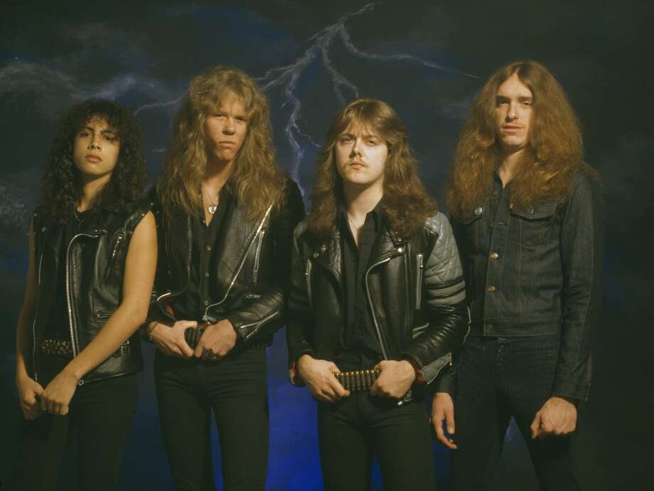 American heavy metal group Metallica, 1985. Left to right: lead guitarist Kirk Hammett, singer and guitarist James Hetfield, drummer Lars Ulrich and bassist Cliff Burton.  Photo: Fin Costello/Redferns