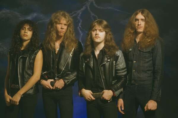 American heavy metal group Metallica, UK, 1985. Left to right: lead guitarist Kirk Hammett, singer and guitarist James Hetfield, drummer Lars Ulrich and bassist Cliff Burton. (Photo by Fin Costello/Redferns/Getty Images)