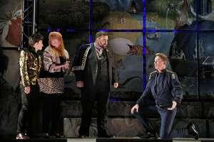 "C�line Ricci (l.),�Sarah Gartshore,�Carl King and Ryan Belongie in Handel's ""Agrippina"" at West Edge Opera"