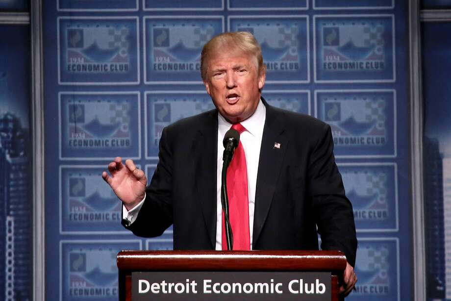 Republican nominee Donald Trump speaks to the Detroit Economic Club at Cobo Center on Monday.Click ahead to see which politicians and celebrities have endorsed Trump for president. Photo: Salwan Georges, TNS
