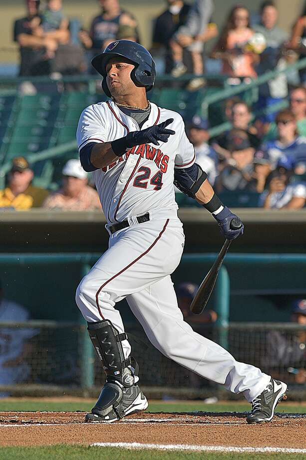 Yulieski Gurriel drove in five runs, including a grand slam, during his final game with Class A Lancaster on Sunday. Photo: K. Ross Way / Lancaster JetHawks
