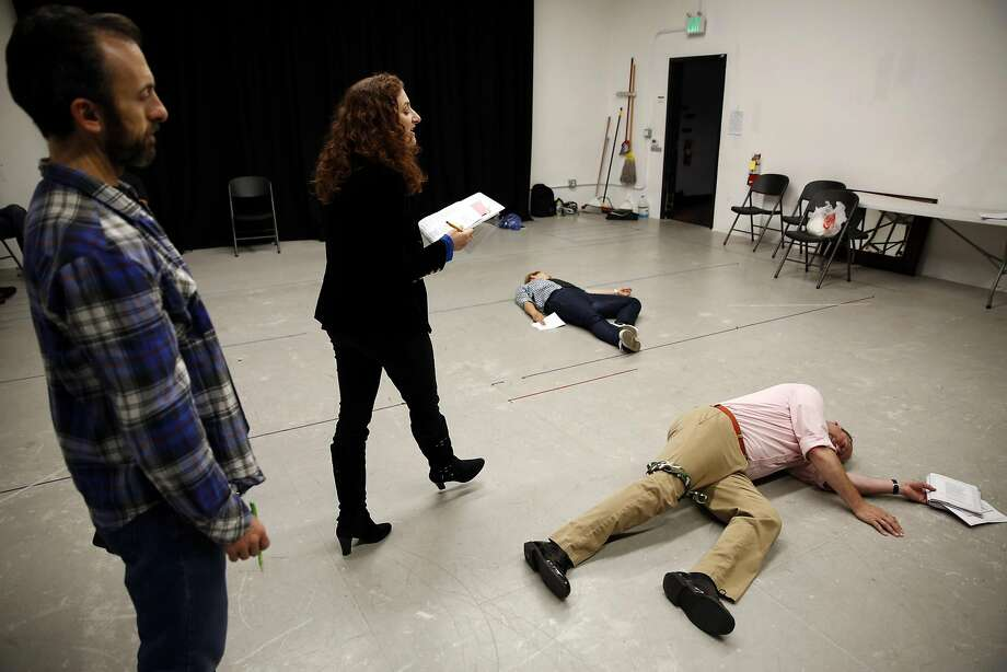 "Karl Schackne (left), Maria Grazia Affinito, Nic Sommerfeld and Eric Newman rehearse a scene of ""Margaret of Anjou"" at Shotgun Studios in Berkeley. Photo: Connor Radnovich, The Chronicle"