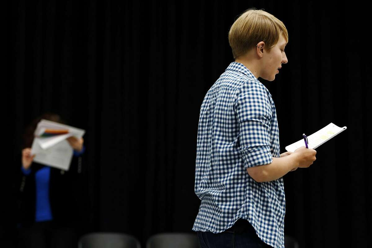 Maria Grazia Affinito (left) and Nic Sommerfeld read lines during a rehearsal of