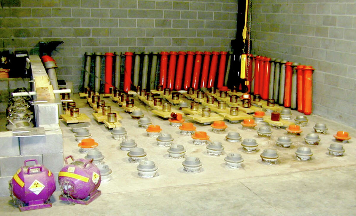 Large quantities of radioactive materials stored in a single location, like these at an oil well-logging storage site, are particularly vulnerable to theft for use in a dirty bomb. The federal Nuclear Regulatory Commission essentially outsources a bulk of its responsibility for licensing these kinds of sales of these materials to states, Texas among them.