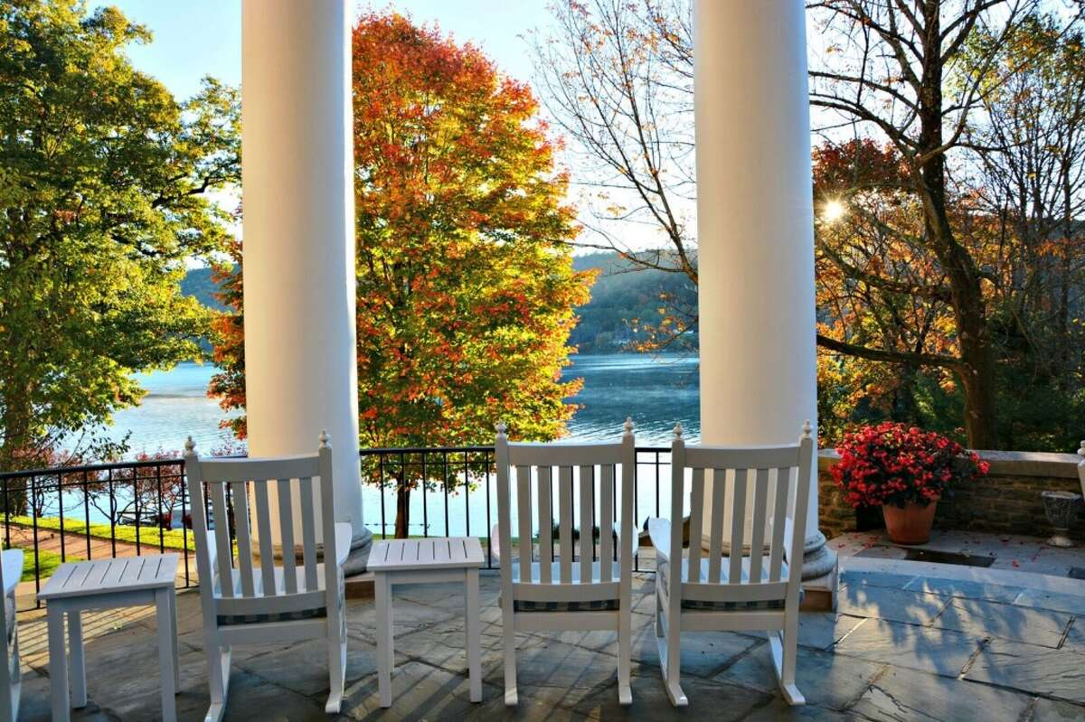 Rocking chairs on the porch of the Otesaga Resort Hotel. The hotel will remain open through the winter this year for the first time in its 111-year existence.