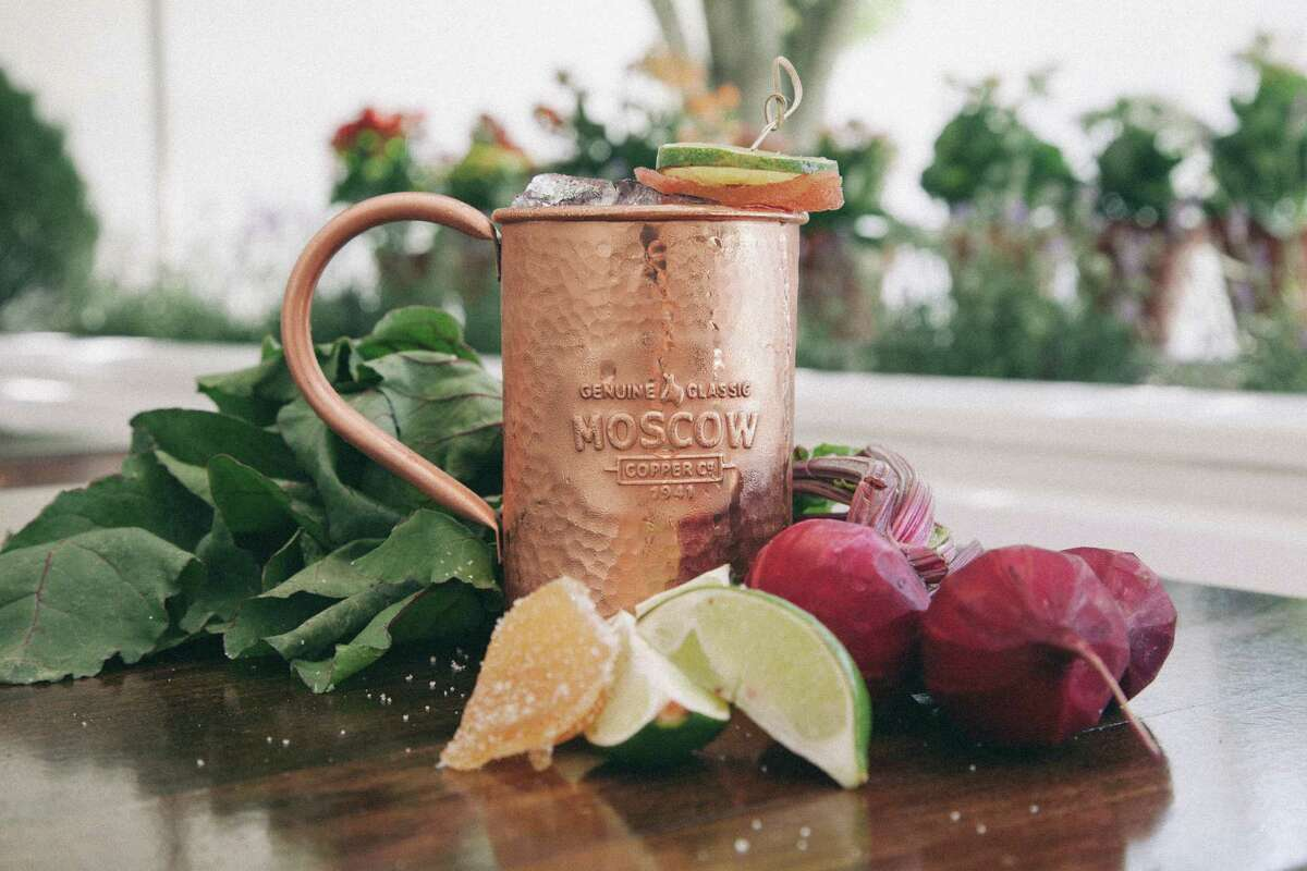 Beet the Mule is a cocktail made with Rhum Barbancourt, ginger syrup, beet juice and ginger beer. It is a variation on the Moscow Mule. Recipes, page D5