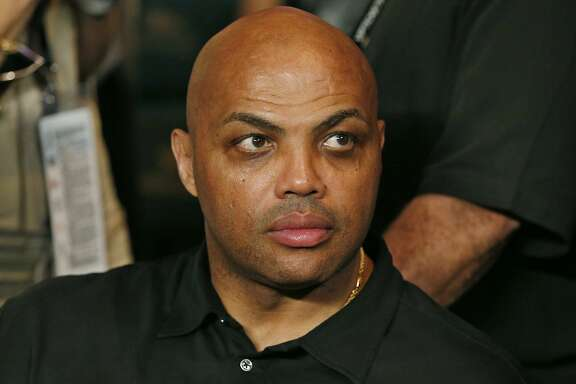 FILE - In this May 2, 2015, file photo, Charles Barkley joins the crowd before the start of the world welterweight championship bout between Floyd Mayweather Jr., and Manny Pacquiao in Las Vegas. Barkley told ESPN radio on July 12, 2016, that black people have �got to do better� in response to last week�s shootings of black men by police and a sniper attack that left five officers dead in Dallas.(AP Photo/John Locher, File)