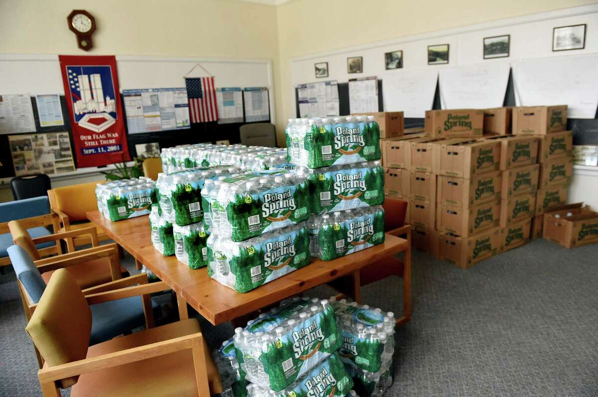 The courtroom is full of bottled water to distribute to residents on Saturday, Feb. 20, 2016, at the Petersburgh Town Hall in Petersburgh, N.Y. The Department of Health detected PFOA in the town's municipal water supply. (Cindy Schultz / Times Union)