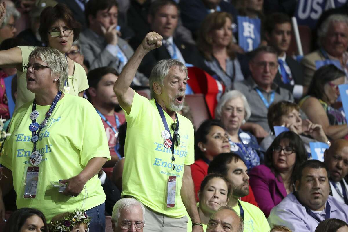 Bernie Sanders supporters, wearing green shirts, on the final day of the Democratic National Convention in Philadelphia, July 28, 2016. (Sam Hodgson/The New York Times)