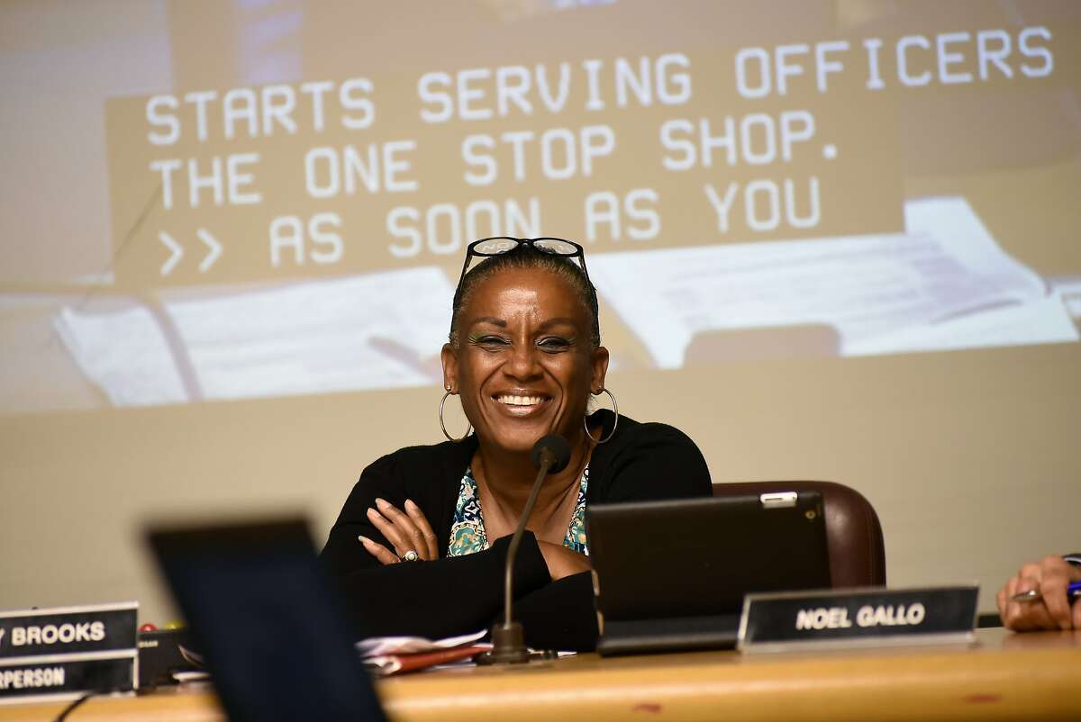 Council chairperson Desley Brooks laughs during an Oakland City Council public city committee meeting discussing African-American recruitment and retention in police force, at City Hall in Oakland, CA Friday, October 13, 2015.