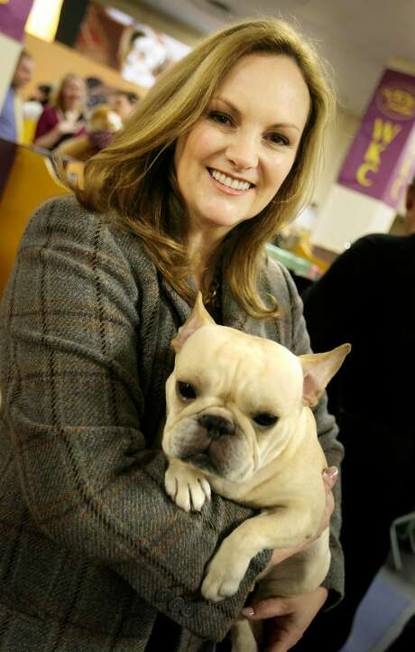 Patricia Hearst with her French bulldog, Diva, at the Westminster dog show in 2008. Photo: Seth Wenig, AP