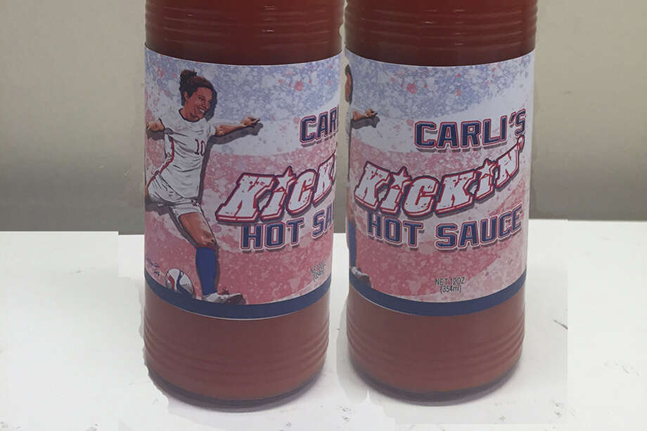 "Named after Houston Dash star and Team USA star Carli Lloyd, ""Carli's Kickin' Hot Sauce"" will be sold for a limited time at participating Houston-area Kroger stores.Click through the gallery to see other athletes who've had food named after them. Photo: Courtesy PLB Sports"